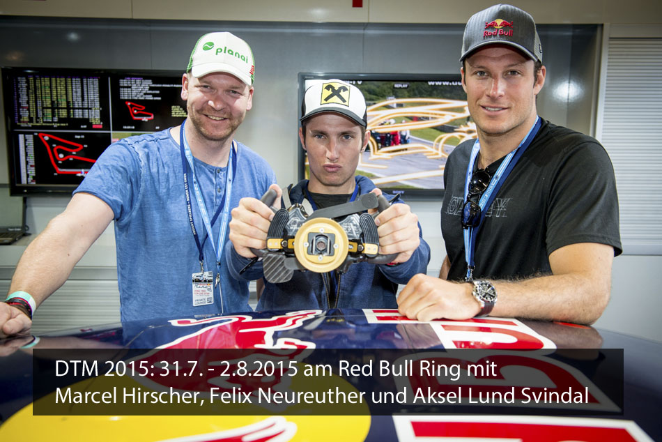 Marcel Hirscher, Felix Neureuther und Aksel Lund Svindal bei der DTM 2015 am Red Bull Ring