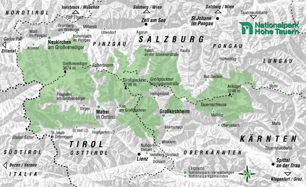 hohe tauern karte Nationalpark Hohe Tauern | Landkarte | sport oesterreich.at